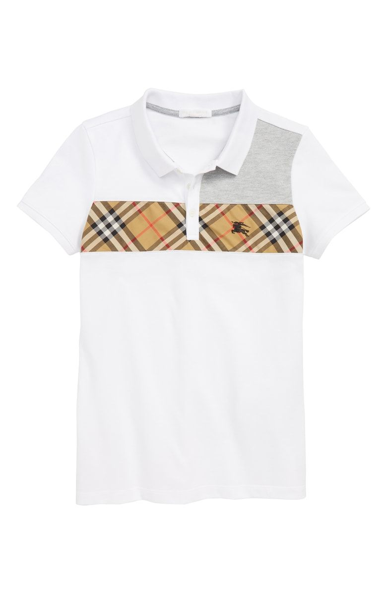 c9764060 Free shipping and returns on Burberry Jeff Polo (Little Boys & Big Boys) at  Nordstrom.com. Bias-cut check fabric and an embroidered logo brand a  handsome ...