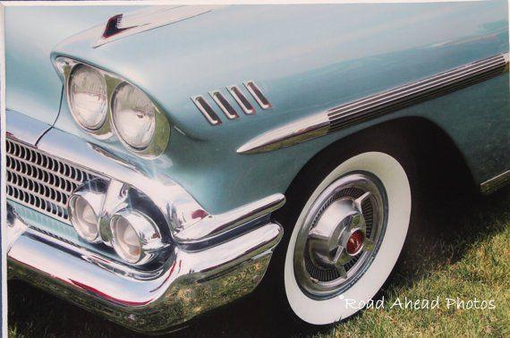 5×7 photograph, classic car, 1958 Chevy Impala, blue