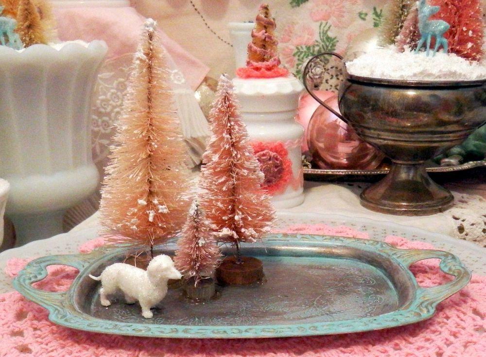 Vintage Xmas Dachshund Doxie Pink Sisal Bottle Brush Tree Holiday Village Decor