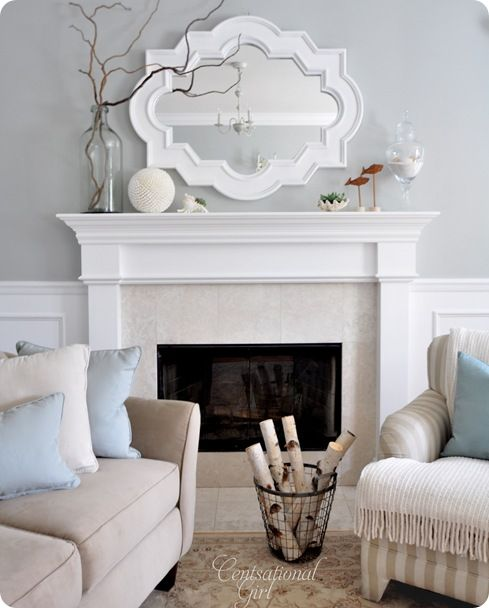 color palette and fireplace