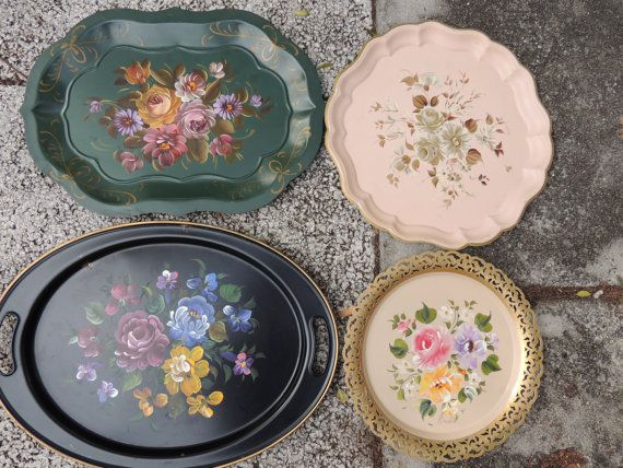 Four Large Vintage Hand Painted Metal Trays by ShastaVintage, $45.00