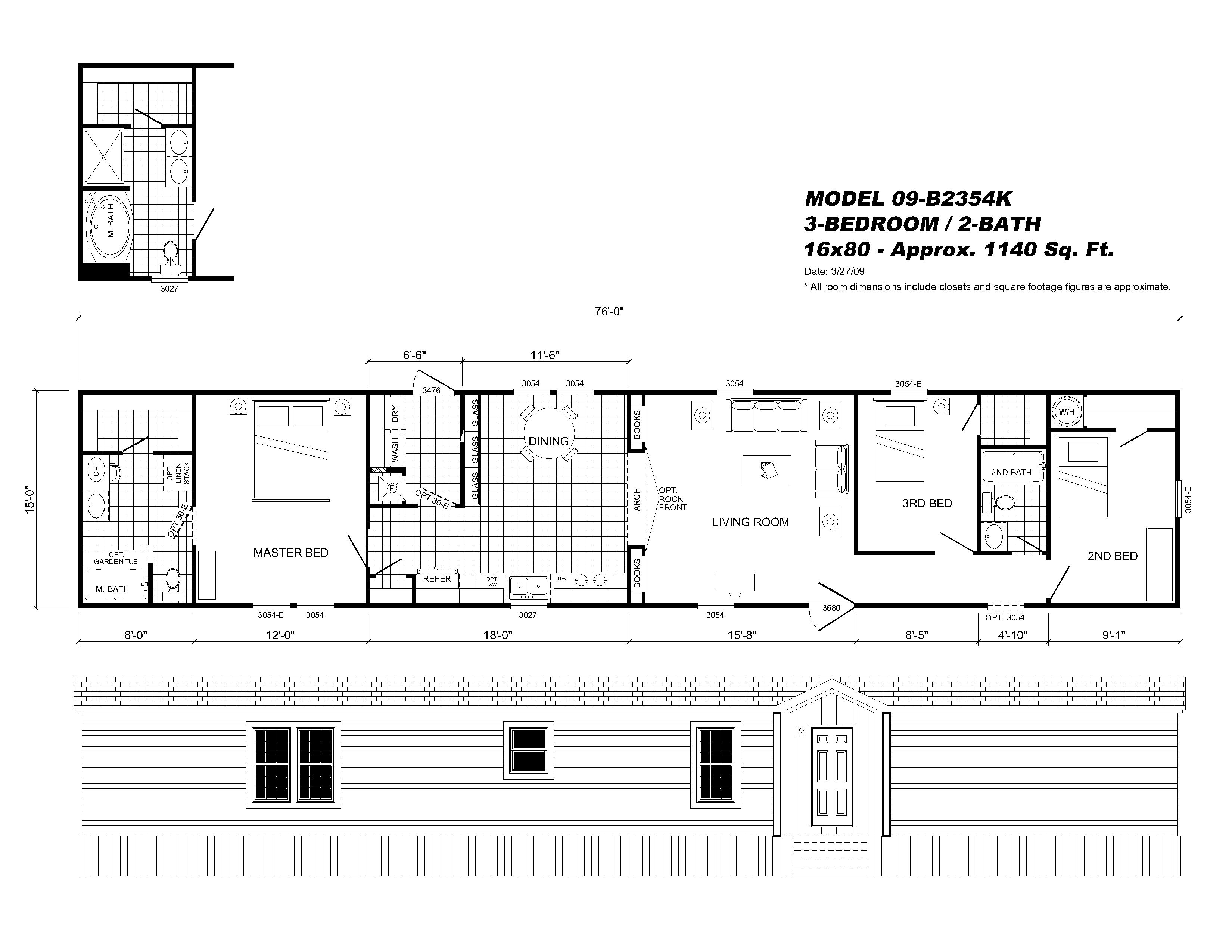 Interesting Ideas 16x80 Mobile Home Floor Plans Champion