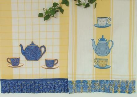 Advanced Embroidery Designs. Kitchen Towels With Tea Set Appliqué. Part 40