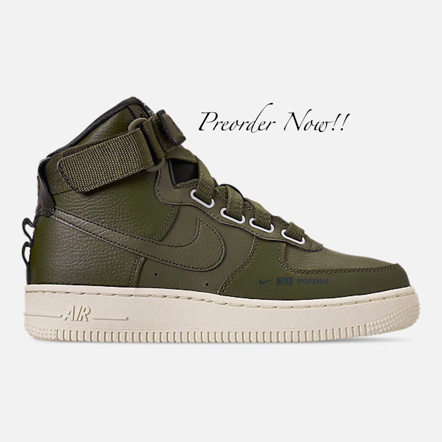 3f3c47356312d Swarovski Women's Nike Air Force 1 High Olive Green Sneakers Blinged ...
