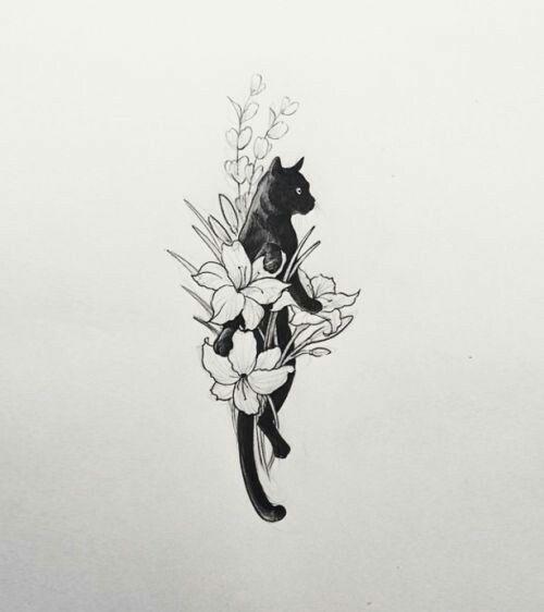 Black Cat And Flowers Tattoo Cat Tattoo Designs Shoulder Sleeve Tattoos Black Cat Tattoos