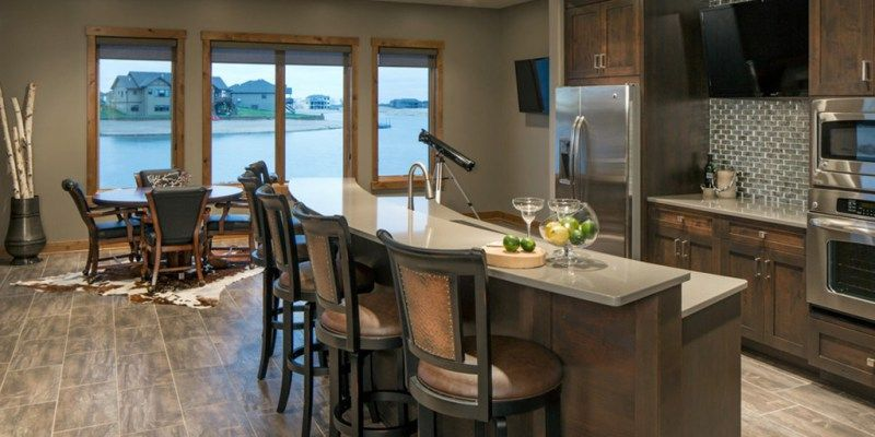 Keystone Gray Sw 7504 Kitchen By Spaces Interior Exteriors Transitional Basement Small Apartments Interior Spaces