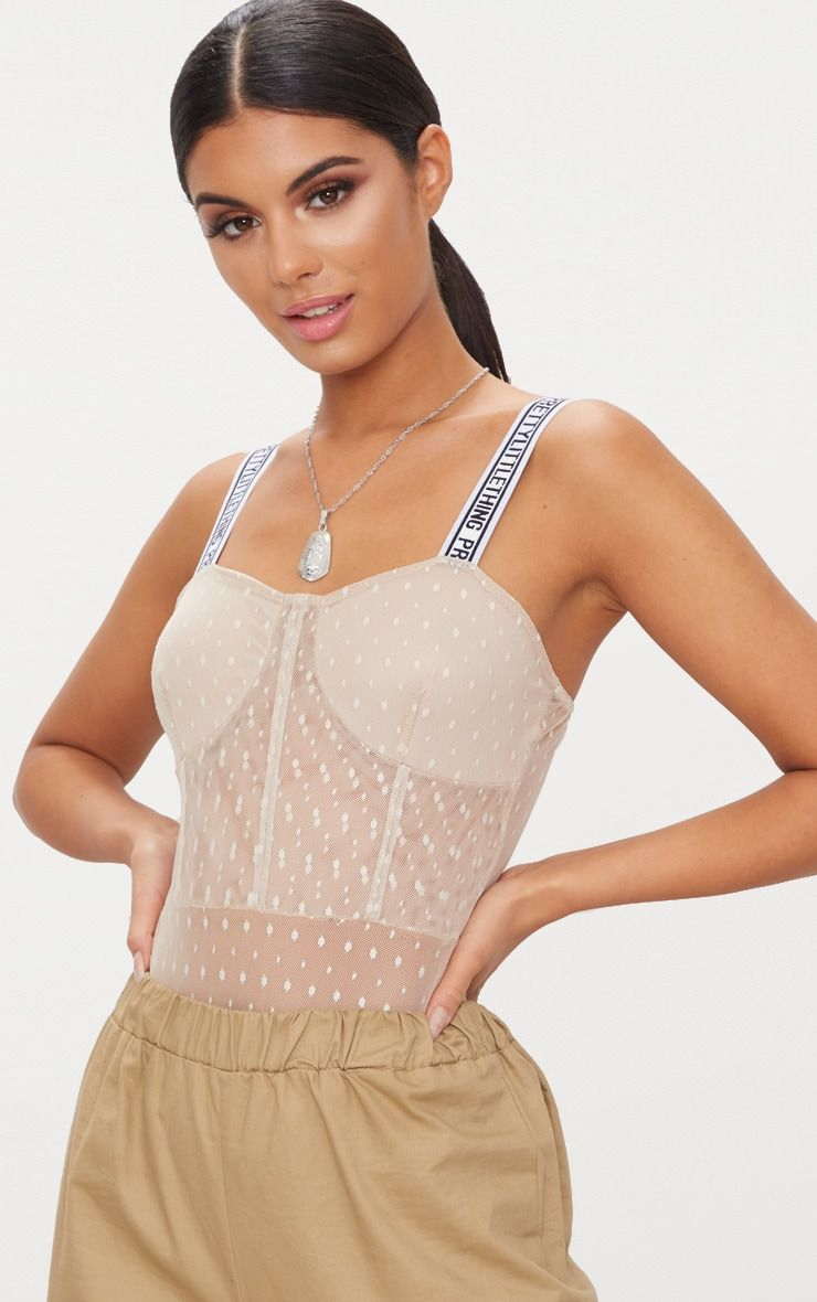 Nude PrettyLittleThing Dobby Mesh Thong BodysuitWith statement ...