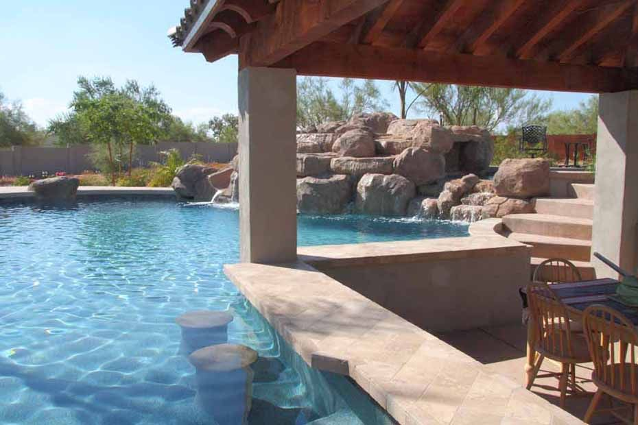 Phoenix swimming pool waterfalls features arizona for Pool design az