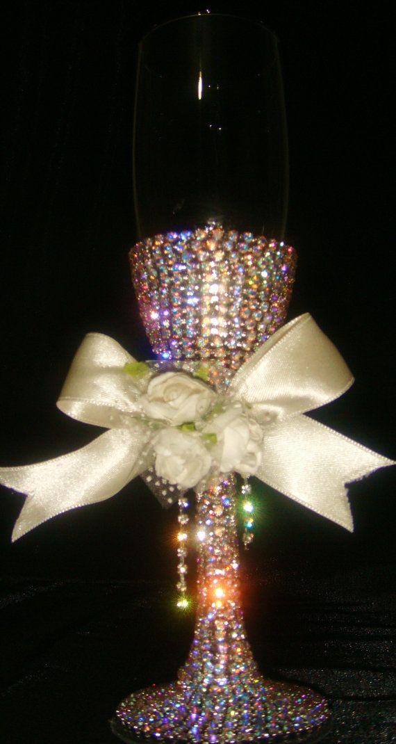 Custom designed handmade wedding flute with multicolor by Arzus, $55.00
