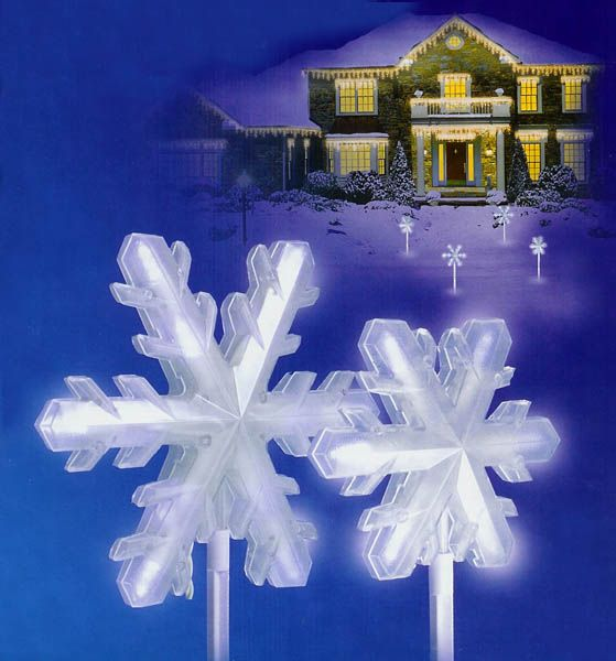 Set Of 4 Pure White Frosted Led Lighted 3 D Snowflake Christmas Pathway Markers