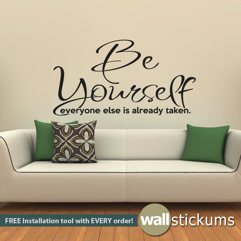 Wall Decal Quote  Be Yourself Living Room Bedroom Quote Vinyl - Custom vinyl wall decals sayings for living room