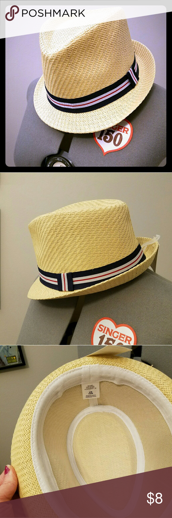 Summery Fedora NWT Straw Fedora hat, perfect for summer. Cute navy, white and red ribbon. Size S/M. NWT. Accessories Hats