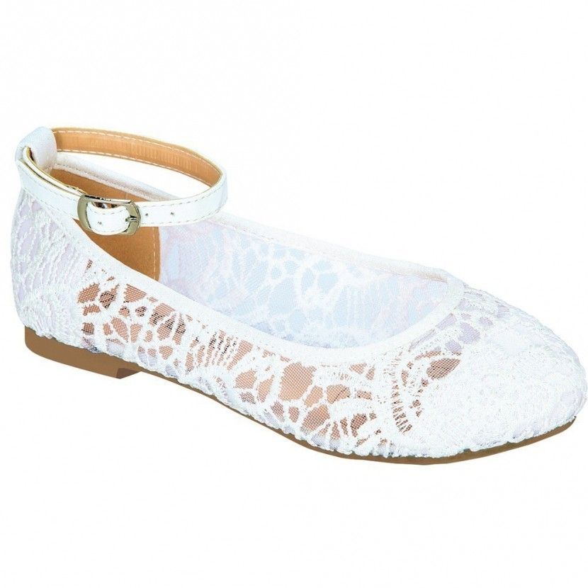 Girls White Embroidered Translucent Panel Ankle Strap Dress Shoes 11 ...