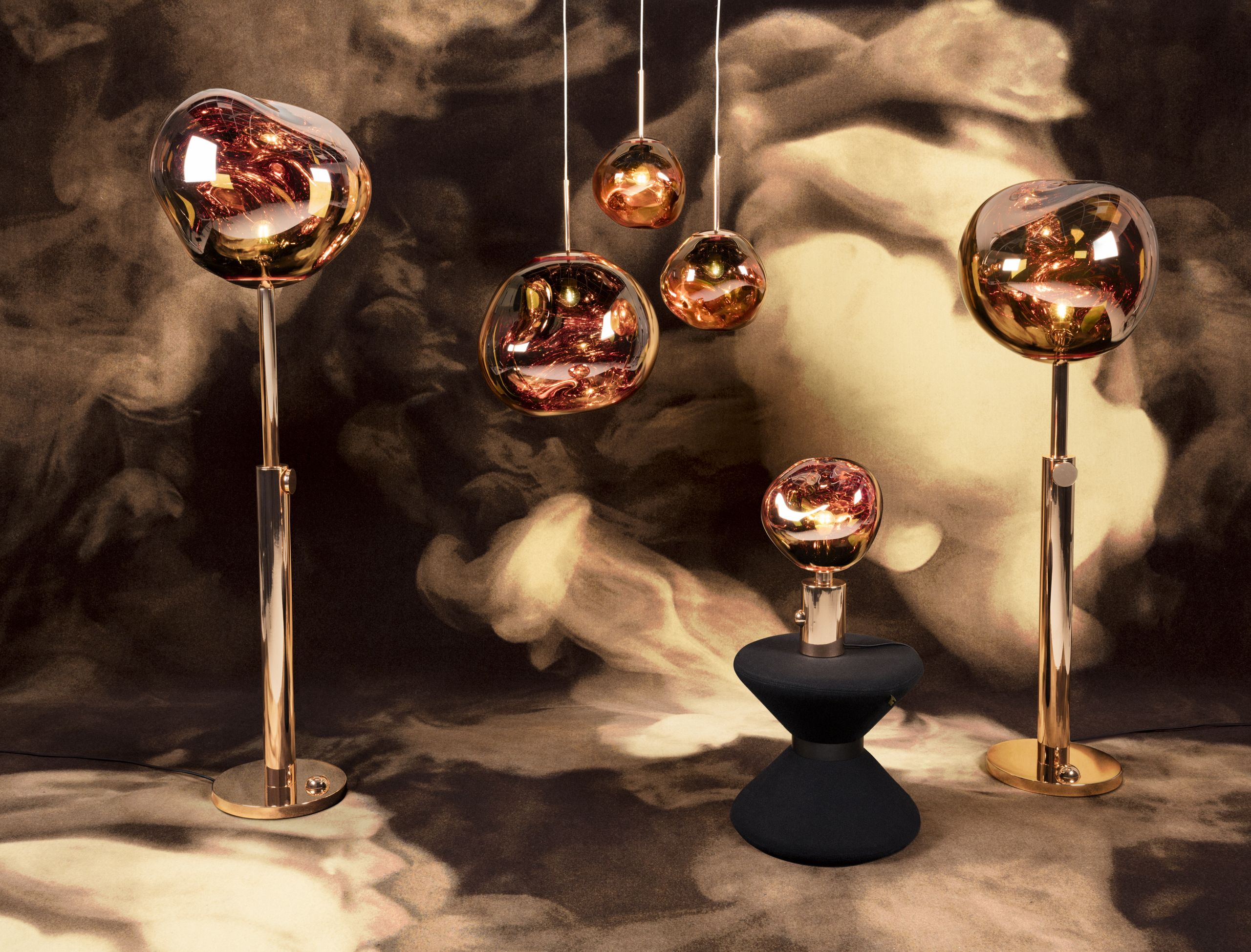Melt Copper Family With Drum Stool 15 Off All Tom Dixon Lighting Furniture And Accessories Now Thru October 15th Shop The Coll Vloerlamp Hanglamp Tafellamp