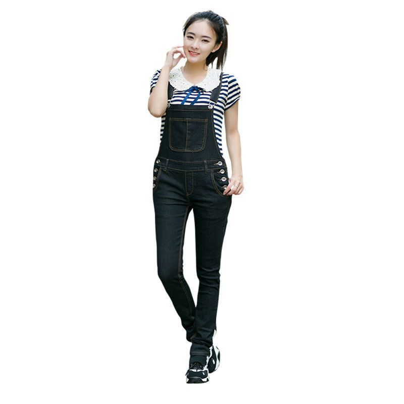 92485e5c7666 New Women Eyelet Button Hole Denim Overalls Women Jumpsuit Lace Up  Sleeveless Long Jeans Playsuit Plus Size Bodycon Overalls