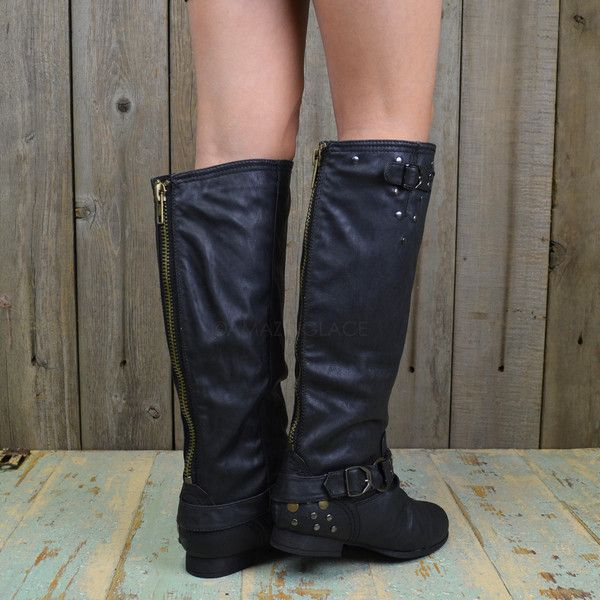 Roundup Wrangler Black Studded Riding Boots