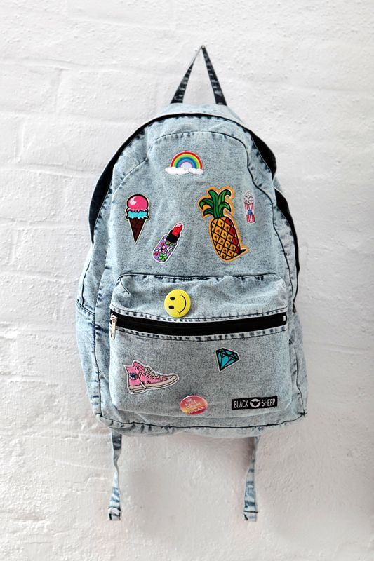 efe191271d266 Denim Jeans Rucksack Shool Backpack witch Patches by Black Sheep.  backpack