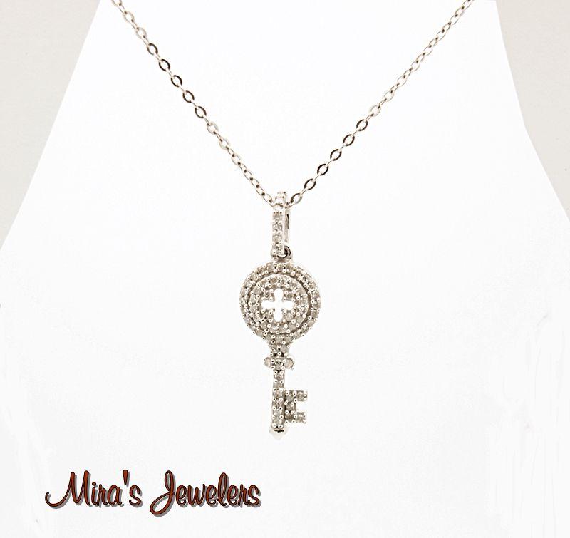 14k diamond key pendant necklace $269.00