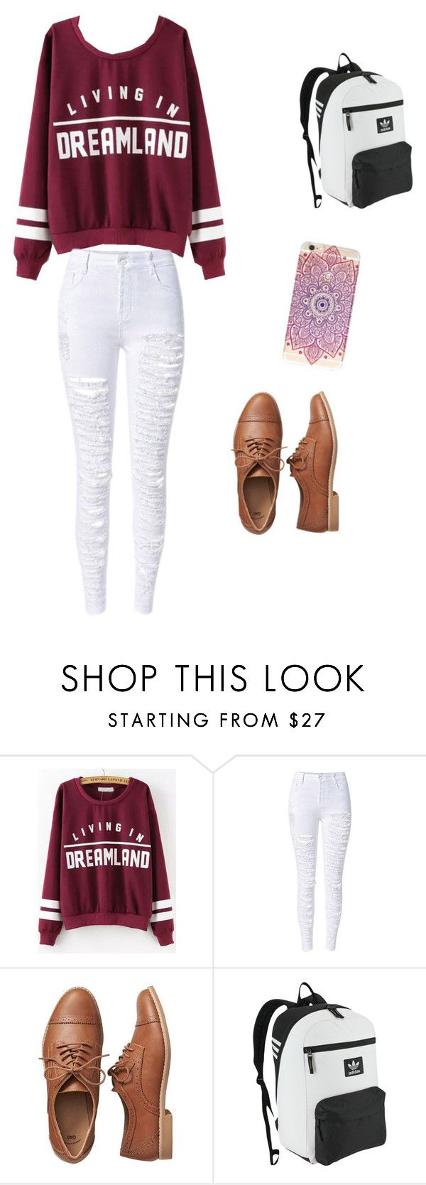 """""""Ootd !"""" by evanatthediscooo ❤ liked on Polyvore featuring Gap and adidas Originals"""