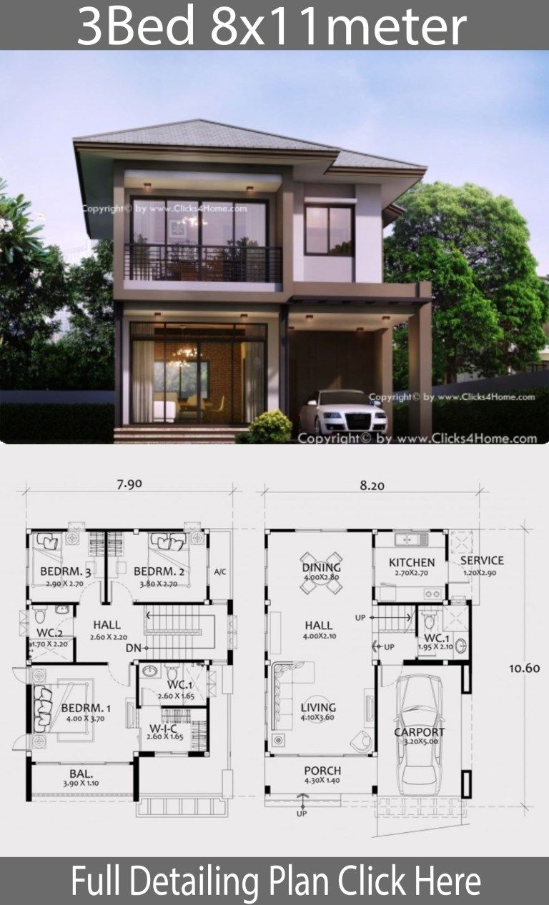 Home Design Plan 8x11m With 3 Bedrooms House Layout Plans Modern House Plans