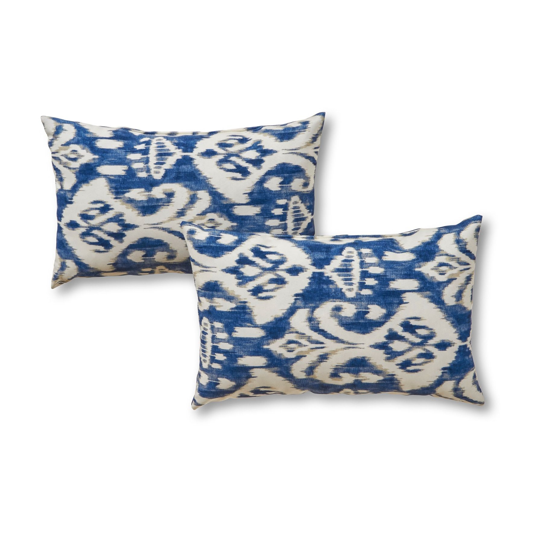 Outdoor Rectangle Accent Pillows Set Of Two In Coastal Ikat Sea