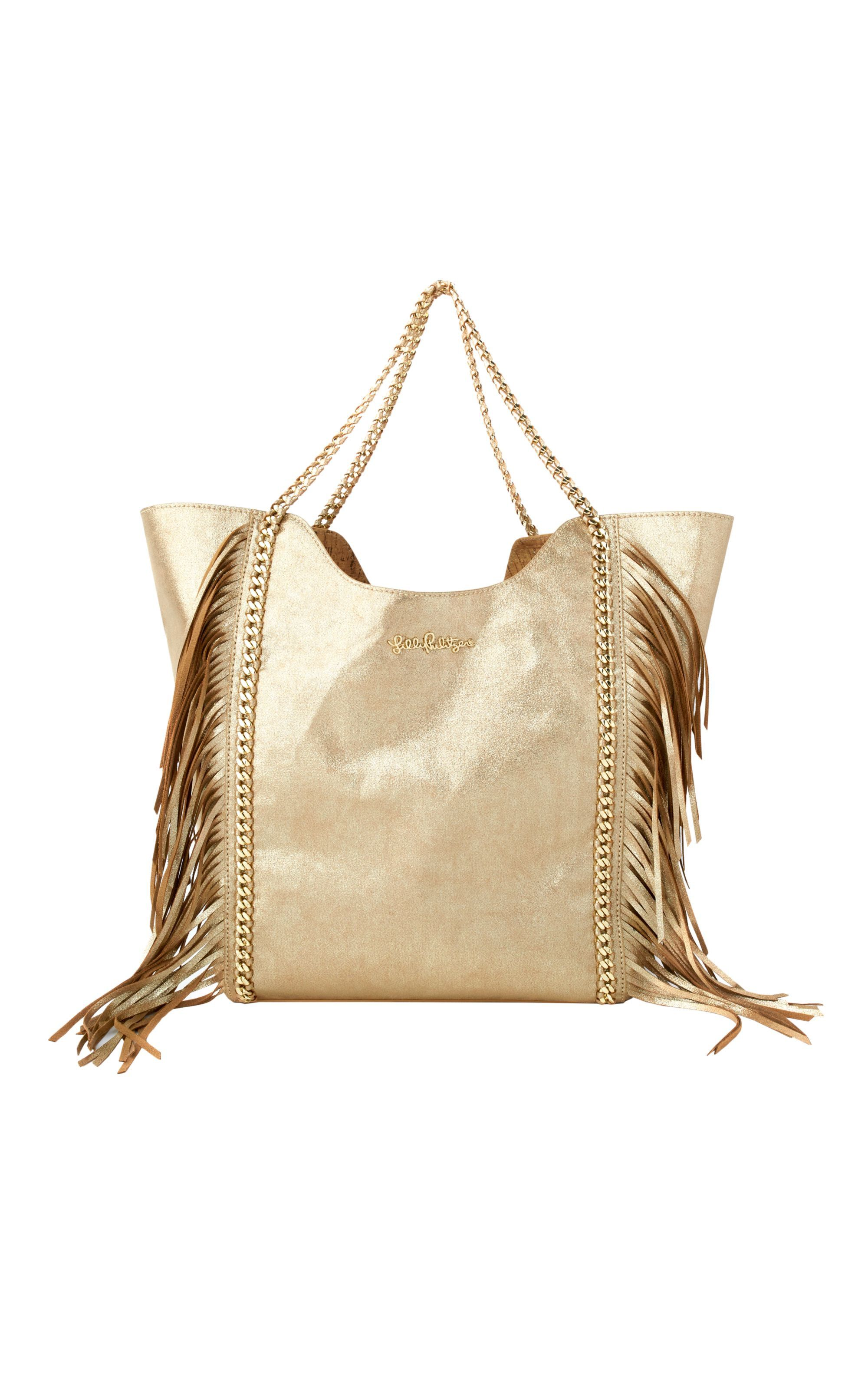 fdce857fca LILLY PULITZER FRINGE CRUISE TOTE BAG - Gold Metallic.  lillypulitzer  bags   hand bags  suede  tote  metallic