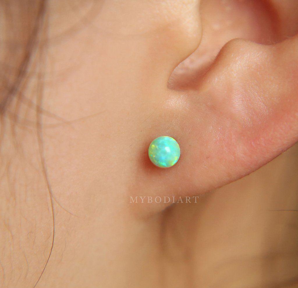 Ear piercing ideas simple  Andromeda Opal Ball G Silver Barbell  Ear Piercing Ideas
