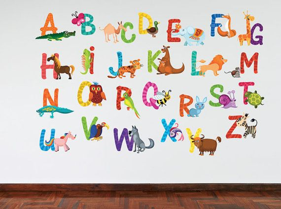 Full Colour Large Animal Alphabet Wall Stickers Nursery Decal Educational  Learning Murals On Etsy, Part 60