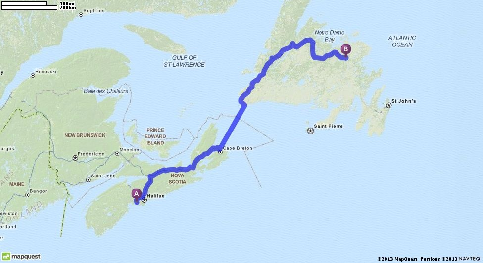 Maine Map Quest.Gander Newfoundland Driving Directions From Hacketts Cove Nova