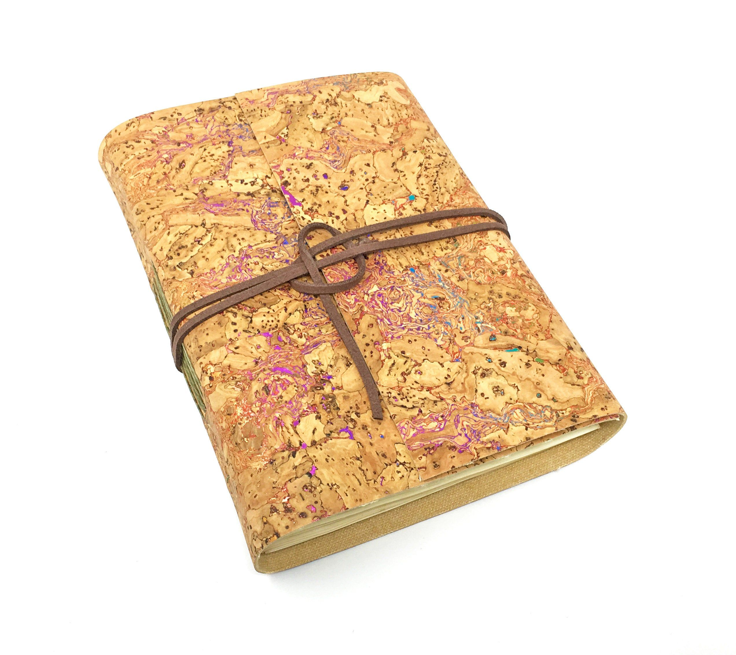 Vegan Cork Handbound Journal With Tea Stained Pages
