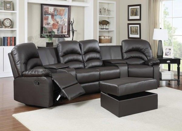 Myco Furniture Ventura 6 Pc Seating Set With Ottoman In Black Ve4001bk Home Theater Seating Furniture Home