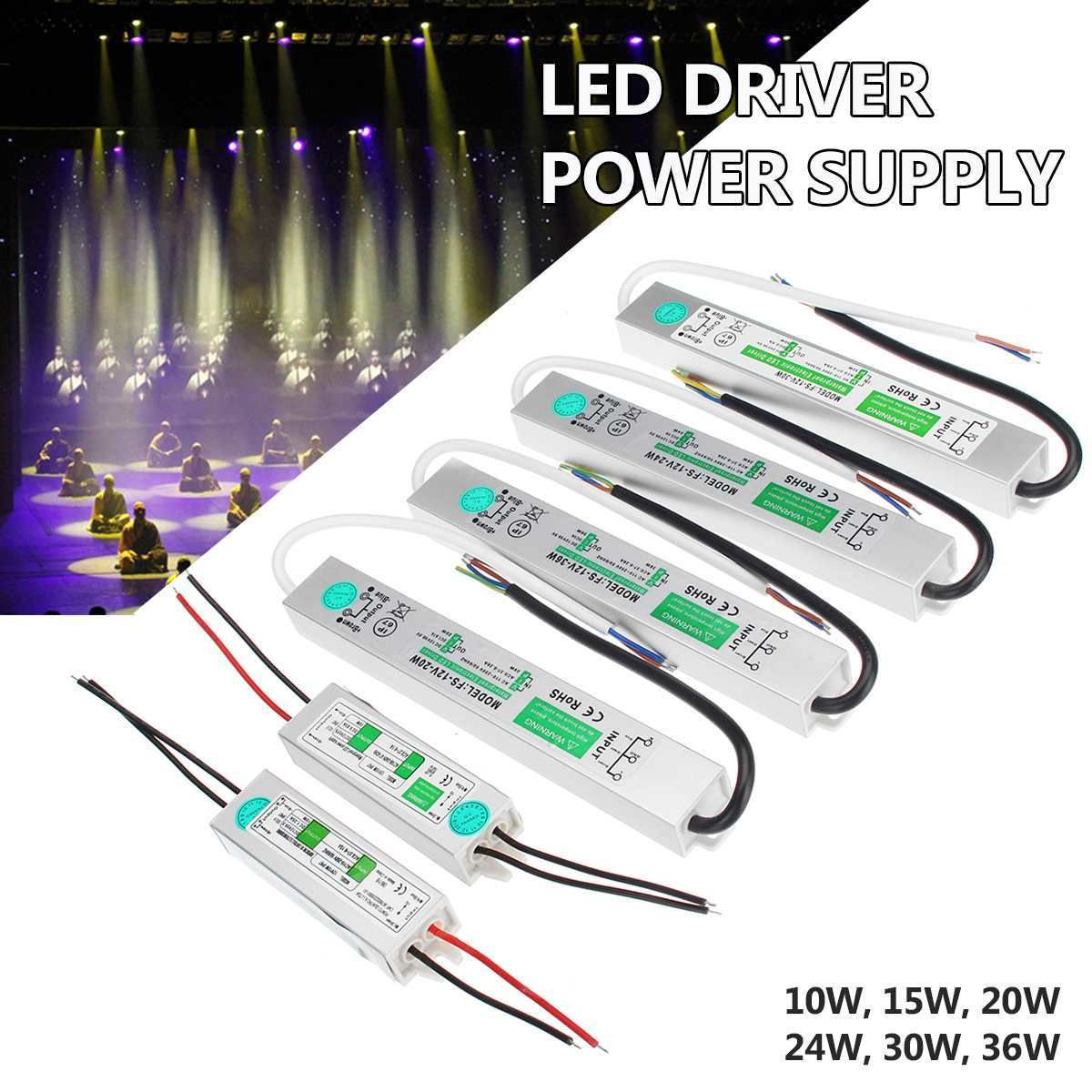 12v 10 15 20 24 30 36w Led Driver Electronic Transformer Power Supply Waterproof Outdoor Led Strip Lamp Ligh Led Drivers Outdoor Led Strips Dimmable Led Lights