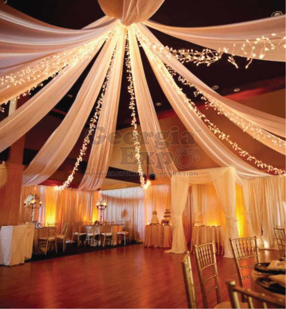 Ceiling Drape Panel Sheer Ceiling Drape Panels Drape Panels Sheer Voile Wedding Decor Georgia Expo In 2020 Wedding Ceiling Ceiling Draping Reception Ceiling
