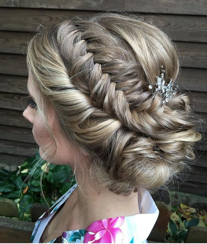 Boho Bridal Hairstyles For Carefree Bride: Beautiful Braid Updo Wedding Hairstyle For Boho Brides