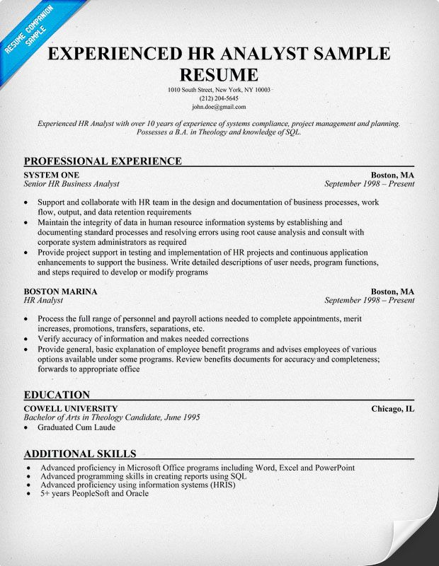 Experienced HR Analyst Resumes (resumecompanion) Resume - hr resume examples