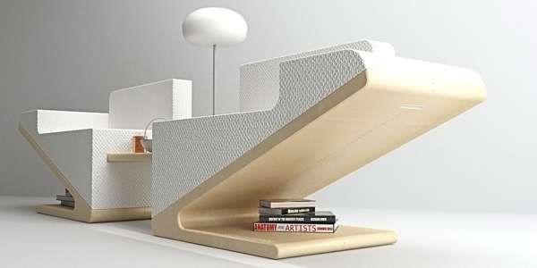 Basta tirare e un divano si sdoppia offrendo due sedute al cui interno è ricavato un comodo tavolino da caffè. Idea originale e linea minimalista, modernissima.