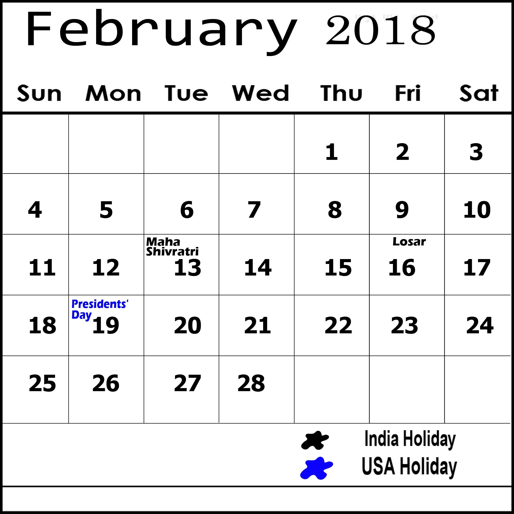 February 2019 Calendar With Holidays India Printable Calender 2019