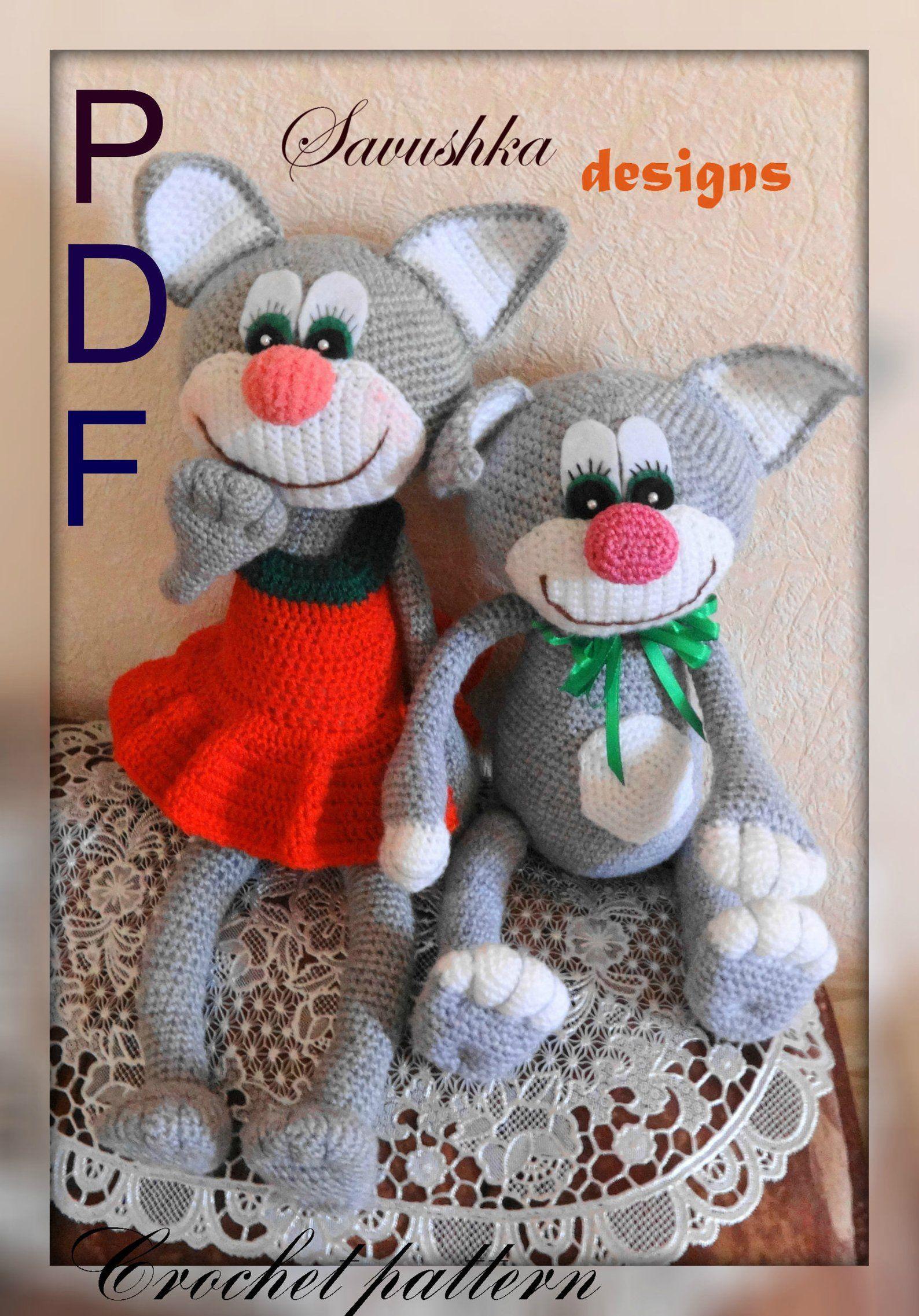 Crochet Pattern toy Amigurumi doll cat Tom, Dress for