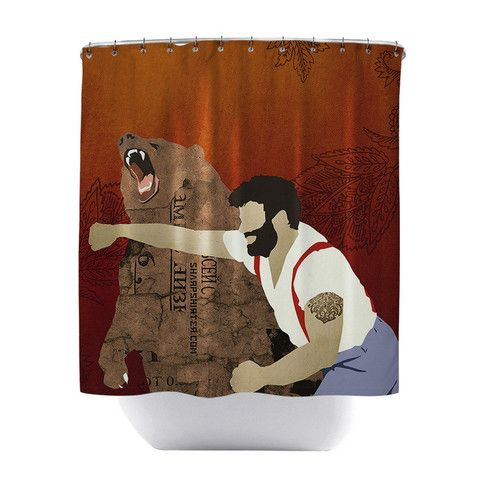 Man Punching Grizzly Shower Curtain How Much More Manly Can You Be