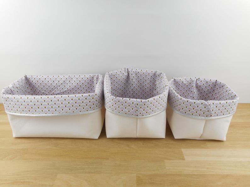 Lot 3 Storage Baskets Small Medium Rectangle Imitation White Fabric Parma Fans Silver Edge Baby Changing Table Pochon Bedroom Panier Rangement Table A Langer Panier Moyen