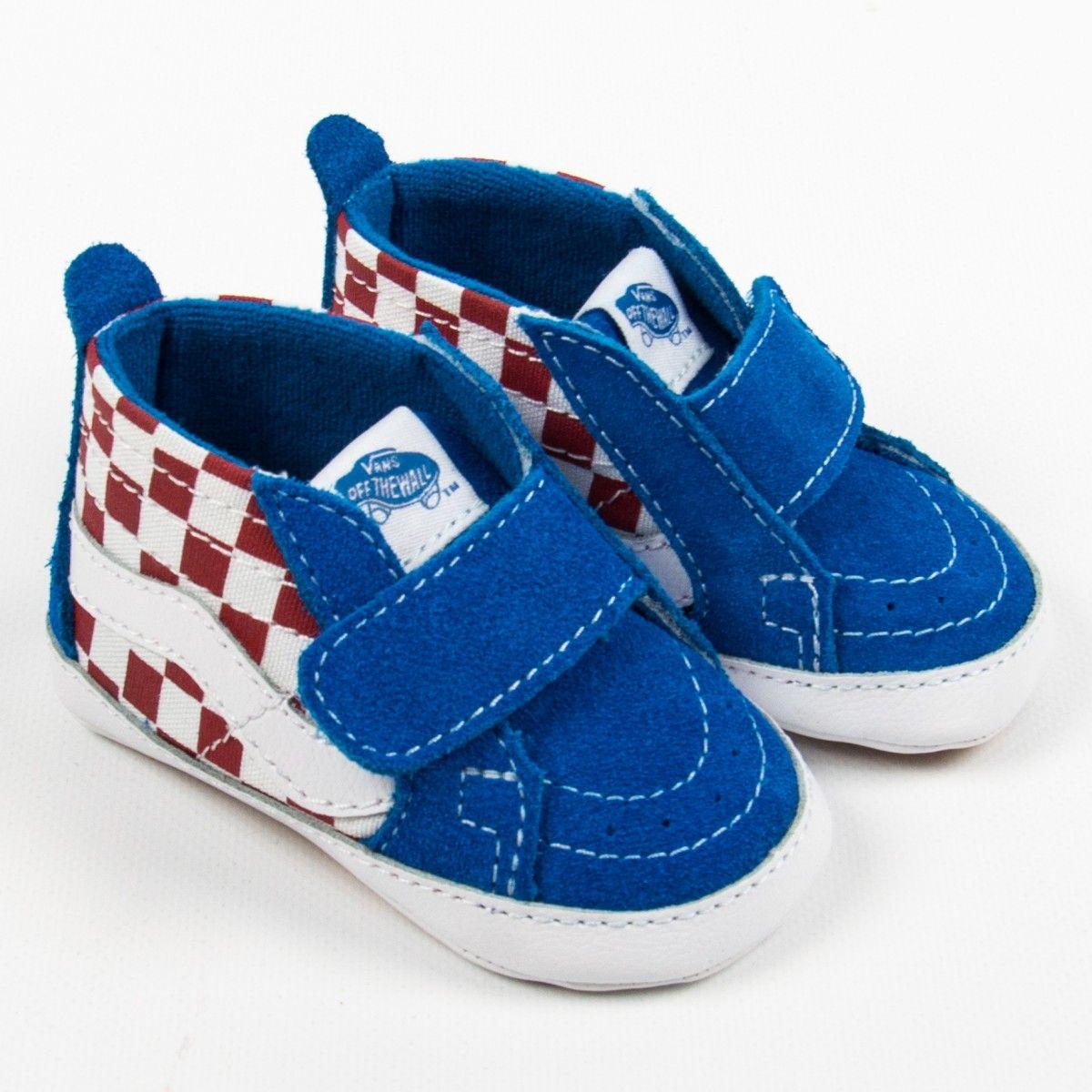 "6a5fbb6c54 Vans ""Sk8-Hi Crib"" blaue Sneakers mit rotem Checkerboard-Muster ..."