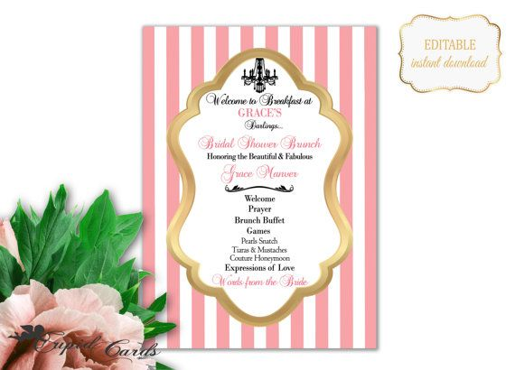 Blush Bridal Shower Program Template Shower Brunch by CupidCards - bridal shower template