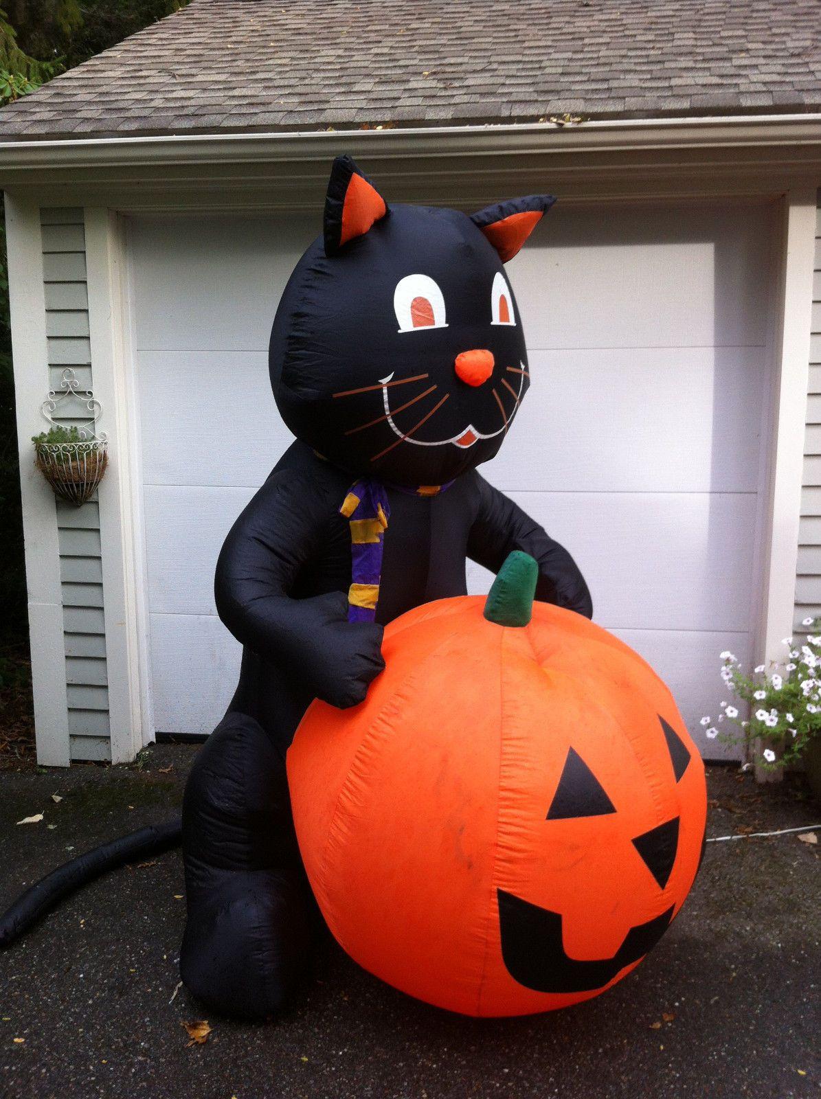 Gemmy Airn Inflatable Black Cat Jack O Lantern Pumpkin 7 Tall Ebay