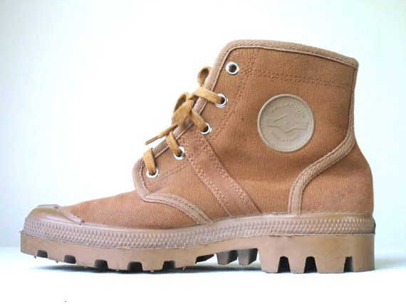 13a310b31c 80s 90s Vintage PALLADIUM Canvas Rubber Chunky High Top Brown Desert Lace-Up  Sneaker Boots # Made In France # DEADSTOCK !