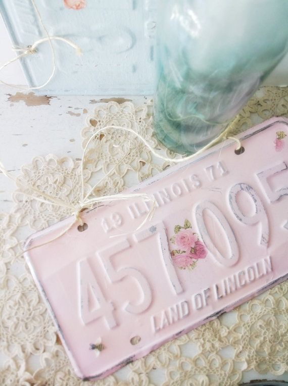 Pink shabby chic sign. Garden Gates Cottage Decor. Vintage Upcycled license plates. Painted distressed pink  w  decoupage flowers