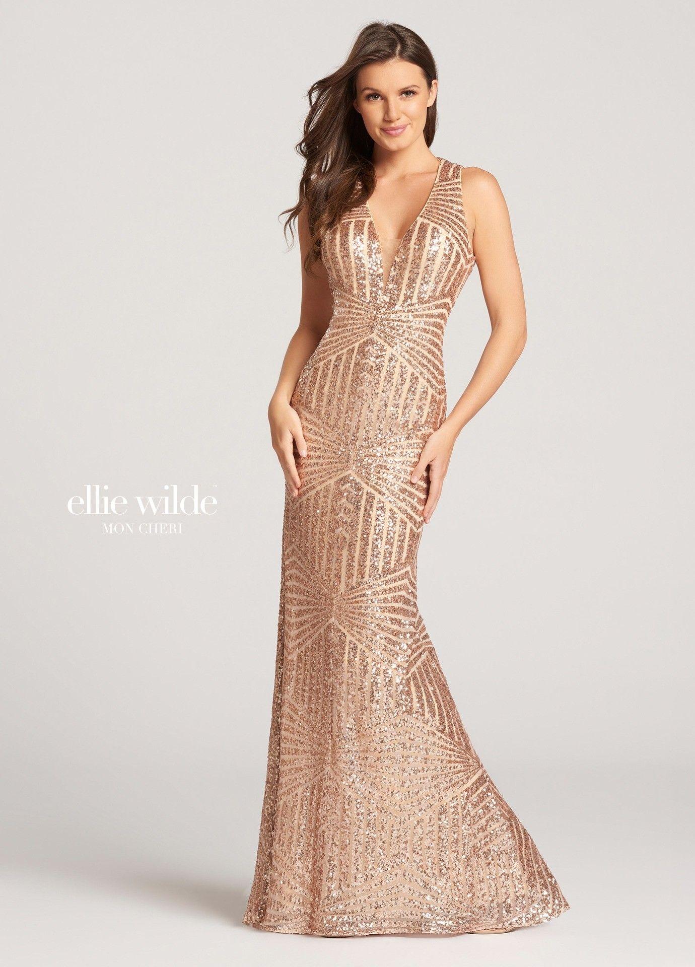 Ellie Wilde Ew118128 Sequin Geometric Print Gown In 2019 Glinda