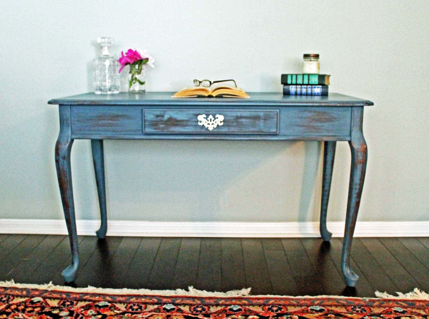 Vintage Painted Queen Anne Writing Desk Home Office