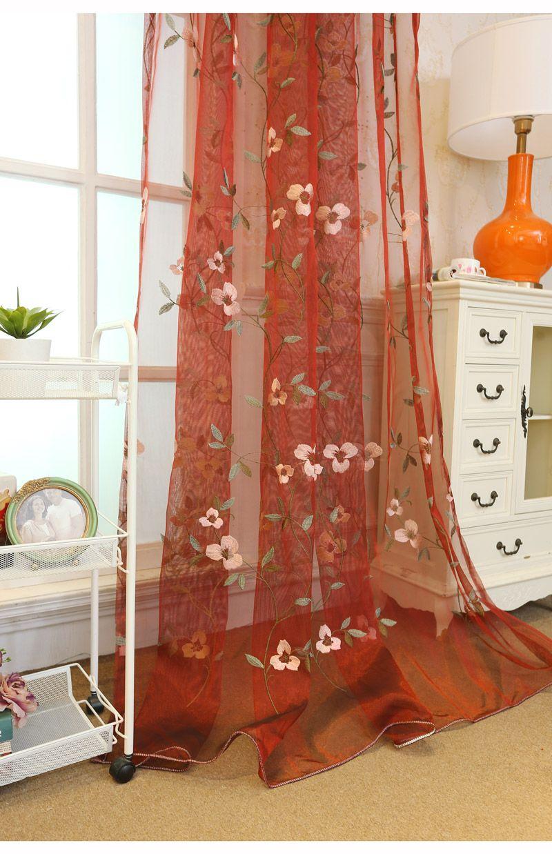 Fleur Pour Decoration Salon voilage rouge polyester brodé fleur coréen pasoral pour