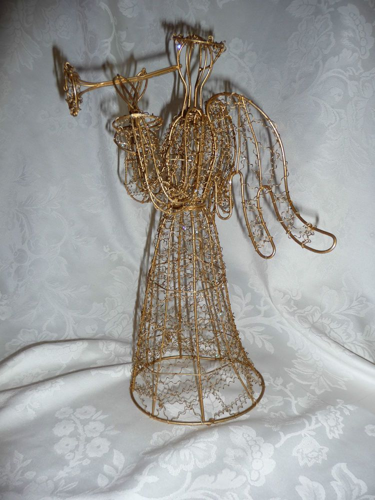 Gold Wire Angel Sculpture Trumpet Herald Christmas Holiday