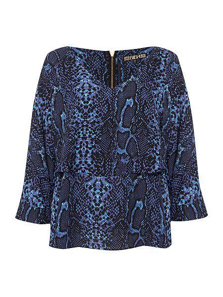 0525c872dde2b5 Biba V-neck snake print layered blouse | SS16